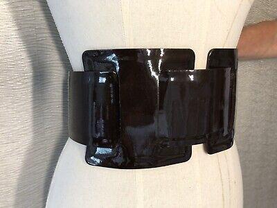 JO NO FUI Dark Brown Patent Leather Waist Belt Size M