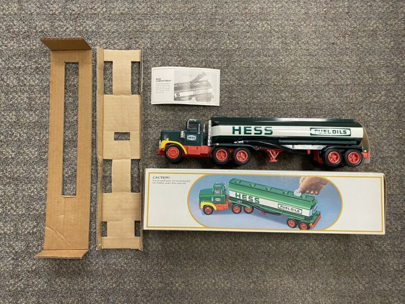 + HESS 1984 Battery Operated Fuel Oils Toy Truck Bank - Tested & Lights Up