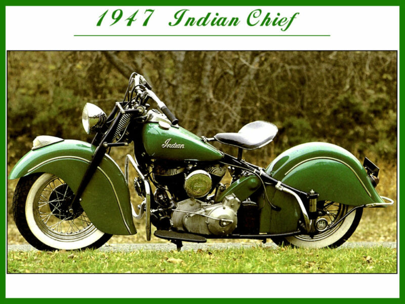 INDIAN MOTORCYCLES 1947 INDIAN CHIEF RETRO REPRODUCTION PROMO POSTER