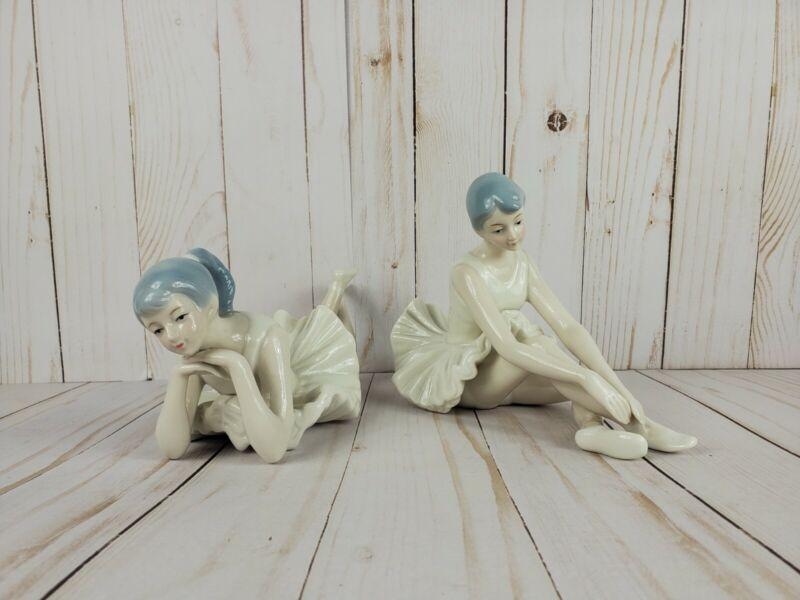 Set of 2 Ballerinas Ceramic Porcelain Ballet Girls Figurines Ballerina Dancers