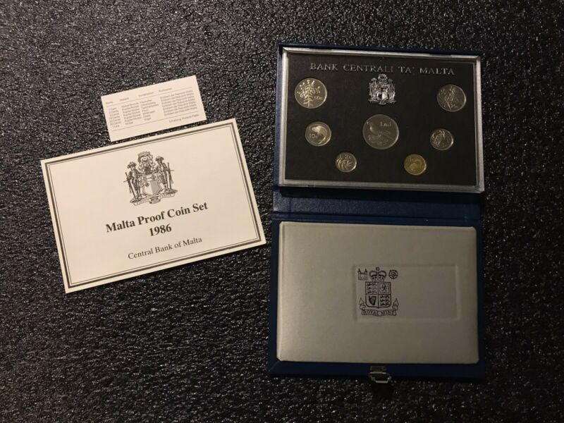 1986 Malta 7 Coin Proof Set Royal Mint Only Limited Issued Worldwide RARE!