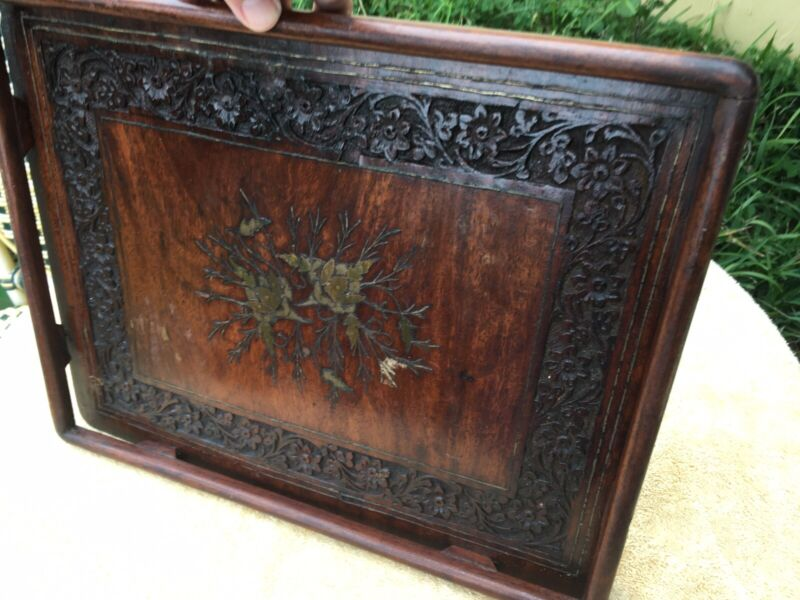 Vintage Heavy Hand Carved Rose Wood Tray With Ornate Brass Inlays