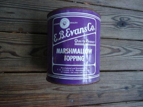 E. B. Evans Co Marshmallow topping gallon can vintage PHILADELPHIA PENNA