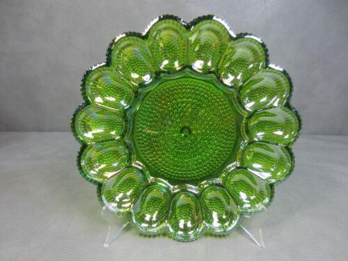 Vintage Indiana Glass Iridescent Green Deviled Egg Plate Hobnail Thousand Eyes
