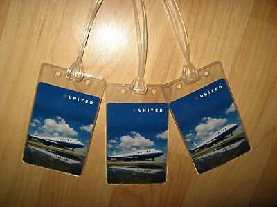 United Airlines Luggage Tags - Boeing 747 UAL Jet Airplane Tulip Logo Set (3) ()