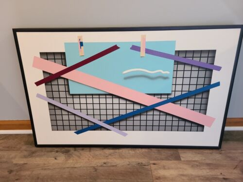 "Joseph Ramsauer Postmodern 1987 "" BLUE RECTANGLE ""  Painting or Collage"