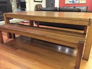 Beautiful indoor/outdoor Kiaat dining table and benches Manly Manly Area Preview