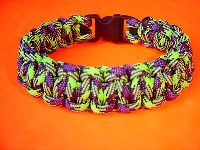 """550 ParaCord Survival Cobra Braided Bracelet - Zombie Colored  Fits 7 1/2"""" Wrist"""
