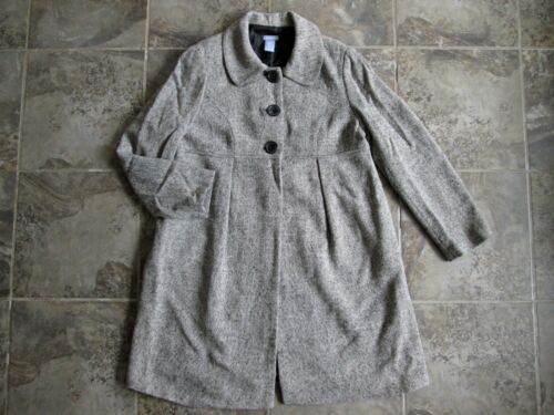Gap Maternity Large Wool Blend Long Jacket Coat Gray Woven Button Down Empire