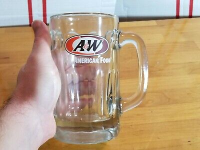 "A&W ROOT BEER Vintage AW GLASS MUG 6"" tall"