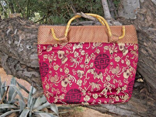 Silk Brocade Vintage Asian Purse w/ Bamboo Handles