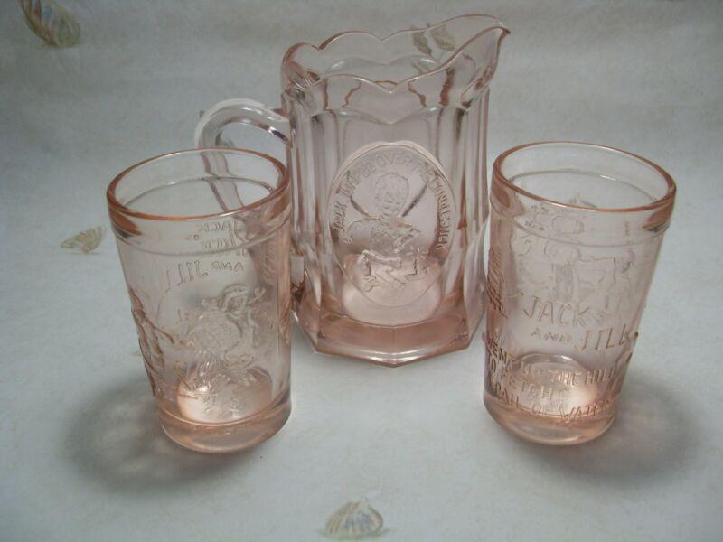 Vintage Tiara Pink Glass Jack & Jill Pitcher & Tumbler Set
