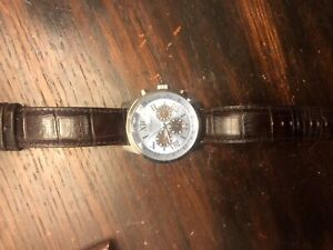 Guess leather band blue face watch