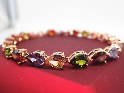 18K Rose gold Solid 5mm Multi-color Drop Gemstone Women's Tennis bracelet 19cm