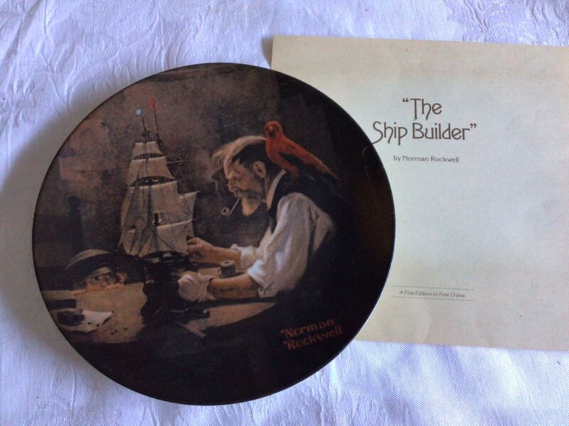 """Knowles Norman Rockwell """"The Shipbuilder""""  4th In Rockwell Heritage Collection"""