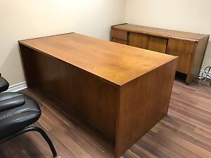 Executive Solid Wood Desk and Credenza