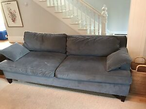 Blue Velvet Sofa and two cushions