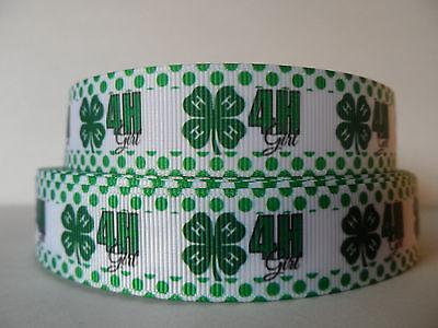 Grosgrain Ribbon, 4-H Girl, Four Leaf Clover, Green Polka Dot Border, 7/8