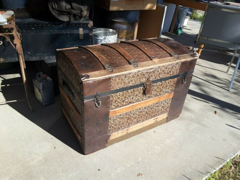 Vintage Barrel Top Victorian Steamer Trunk Treasure Chest Pressed Tin 1800s? Old