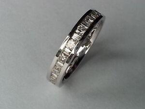 1ct ROUND & BAGUETTE CUT DIAMOND FULL ETERNITY WEDDING RING BAND,18K WHITE GOLD