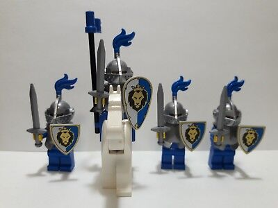 Lot of 4 LEGO Blue & Silver Classic Knights Minifigures with Horse (Lot 1A321)
