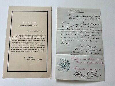 orig. JOSEPH BARNES signed letter LINCOLN'S DEATH BED DOCTOR / SURGEON GENERAL