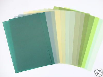 15 x A4 VELLUM PAPER - ASSORTED GREEN SHADES - TRANSLUCENT - ARTS & CRAFTS