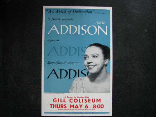 "1965 ADELE ADDISON Concert Poster Window Card 14x22"" VINTAGE PORGY & BESS/OPERA"
