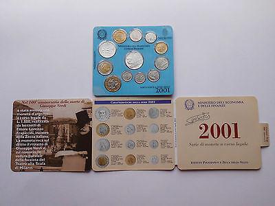 """Italien, Kursmünzensatz (12er) 2001 """"Lire"""" mit 2 Silbermünzen St/ ovp   #MA050"""