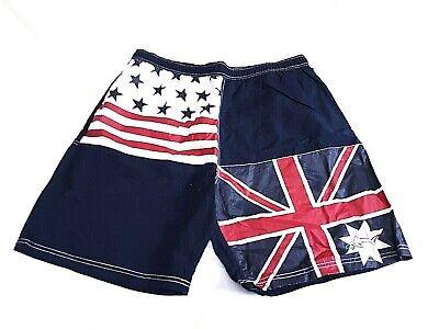 Greg Norman Mens Swimwear Board Shorts XL USA and UK Flag Design Pull (Used Mens Swimwear)