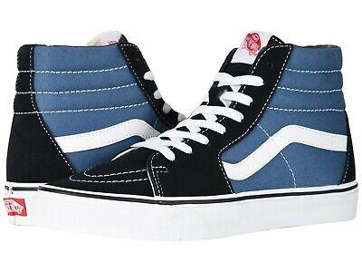 NEW Mens VANS SKATE SK8 HI TOP Navy Blue CANVAS Skate Sneaker Shoes AUTHENTIC