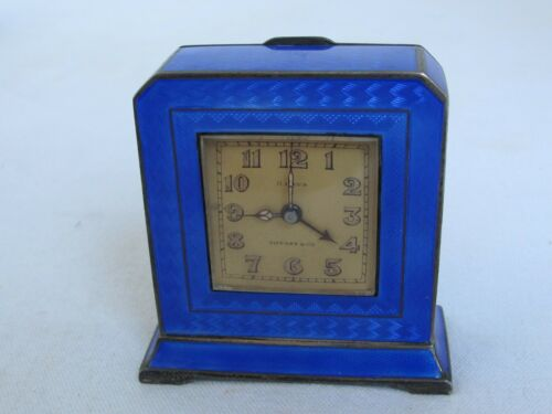 Antique Tiffany & Co. Sterling and Blue Guilloche Enamel Clock Swiss 8 Day