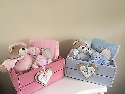 Beautiful Baby It's A Girl Or Boy Hamper In Wooden Storage Box Gorgeous Gift A Baby Hamper