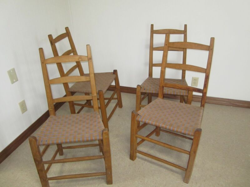 4 Antique Shaker Ladder Back Chairs Woven Seats