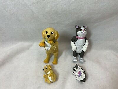 Barbie Mattel Pets Dog Cat Jointed With Puppy And Kitten
