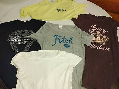 Lot Of 5 Women's T Shirts Size L Abercrombie & Fitch Nickelback Express And...