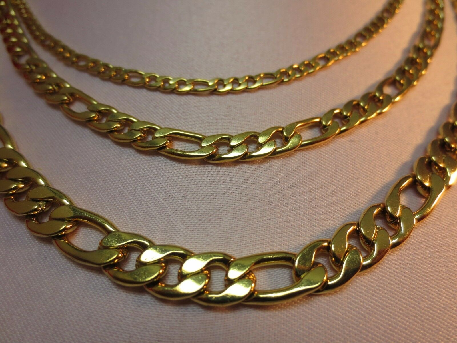 """Jewellery - 3/5/7MM MEN'S  WOMEN'S  STAINLESS STEEL GOLD FIGARO ROPE CHAIN 16""""-60""""- GOLD"""