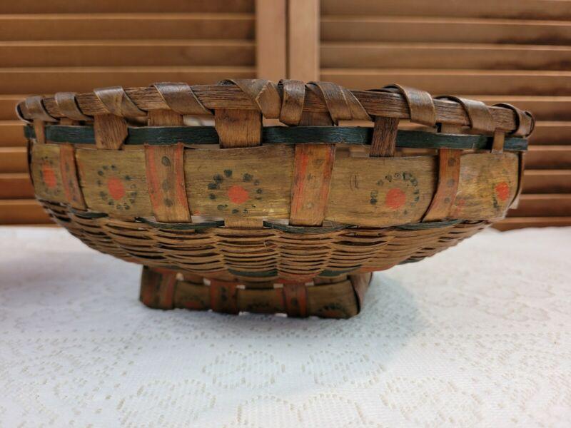 Antique Dyed Potato Stamp Woven Ash Splint Native American Indian Basket