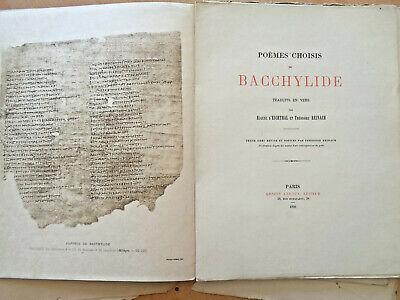 POEMES CHOISIS DE BACCHYLIDE 1898 in-Folio Leroux Envoi EAS des Traducteurs