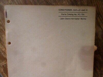 John Deere 21 31 Hay Conditioner Parts Catalog Manual Book Original Pc-756