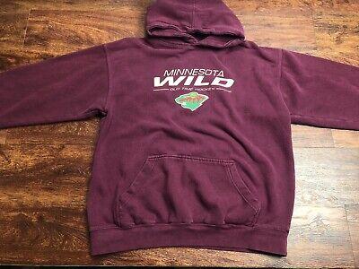 NHL Men's Maroon MN Wild Hockey Hoodie Size Extra Large - Mn Wild Hoodie