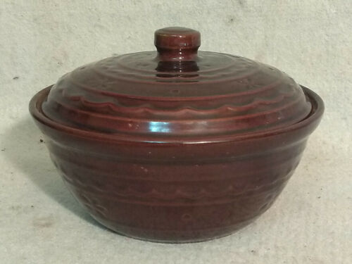 Vintage USA Marcrest Stoneware Oven Proof Covered Casserole Bean Pot