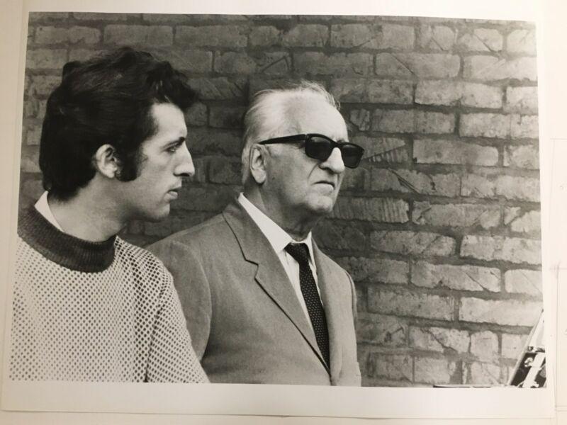 Ferrari Photographs. Exclusive. Enzo Ferrari with his son Piero. 1971. Rare.