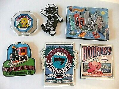 6  souvenir travel magnets: Sesame Place, Hooper's Store, Hershey, Strasburg (Hershey Pa Stores)