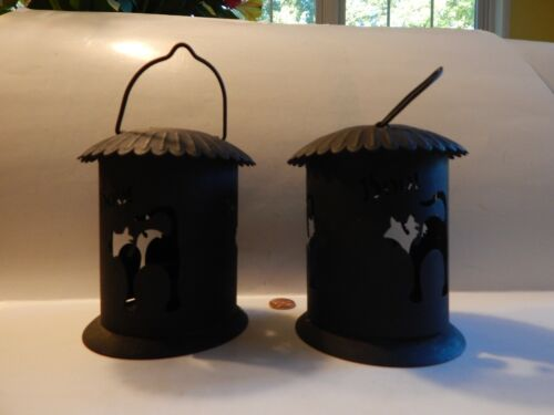 2 Vintage Tin Metal Black Cat Halloween BOO! Votive Candle Holder Lanterns
