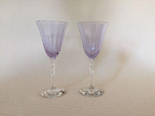 """2 Wisteria Fostoria Fairfax HTF Low 5 1/2"""" 3 Ounce Wine Goblets 5099 5299 Stem"""
