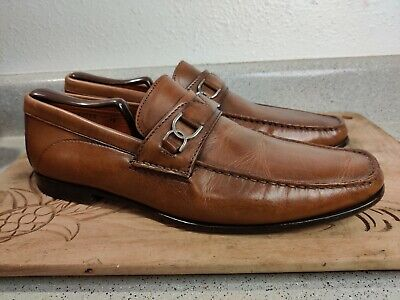 Santoni bit loafer in brown calf leather size 11D Made in Italy Light Wear