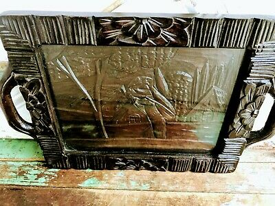 Antique Asian Carved Wood Tray Man Fishing Village Floral
