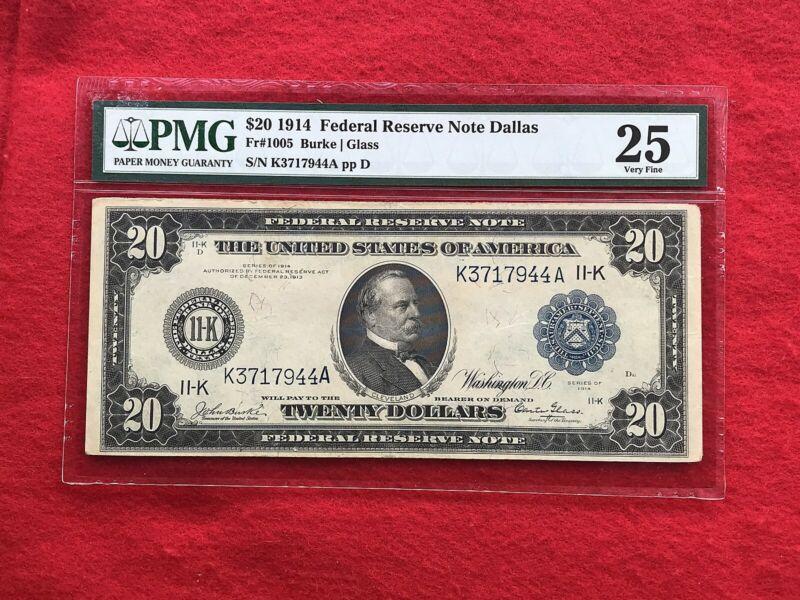 FR-1005  1914 Series KEY DALLAS BURKE-GLASS $20 Federal Reserve Note *PMG 25 VF*