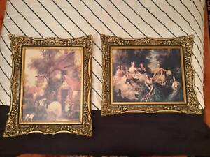 1970's handmade picture frames with canvas
